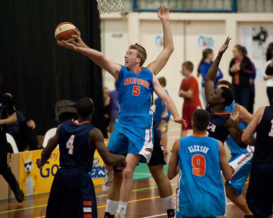 Alex Vouyoukas, Brendan Teys - NBL Pre Season Basketball: Gold Coast Blaze v University of Texas San Antonio; Carrara, Gold Coast, Queensland, Australia. Photos by Des Thureson:  http://disci.smugmug.com.