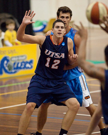 Jeromie Hill, Steven Broom - NBL Pre Season Basketball: Gold Coast Blaze v University of Texas San Antonio; Carrara, Gold Coast, Queensland, Australia. Photos by Des Thureson:  http://disci.smugmug.com.