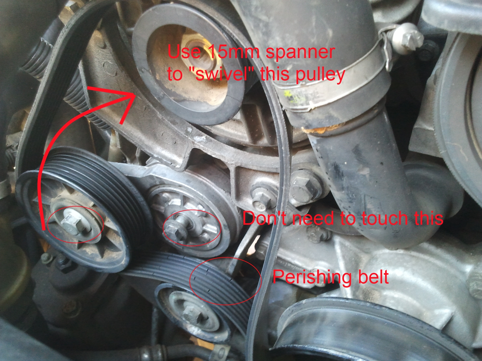 discovery 2 ace wiring diagram mechanical wave the serpentine belt v8 a budding enthusiasts story now remove old by rotating tensioner pulley