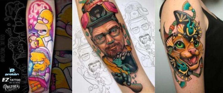 De izquierda a derecha, tatuaje de Pastori, Viviana y Boas.