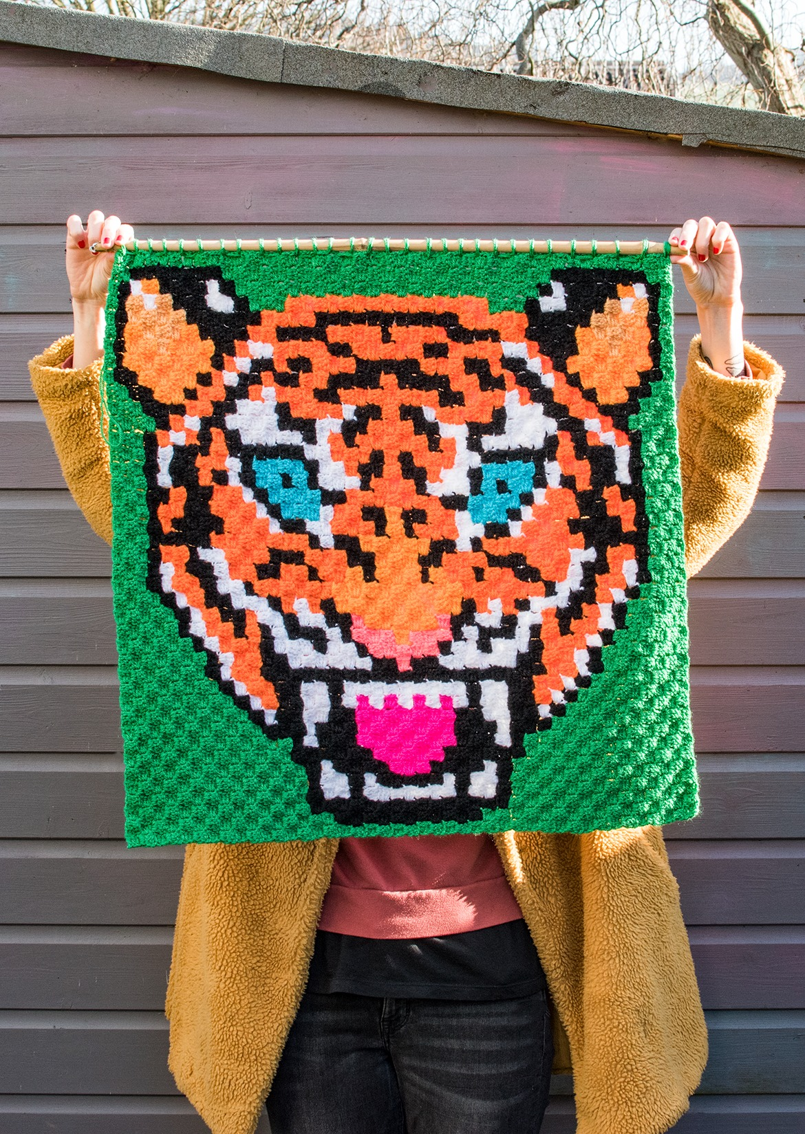 giant tiger crochet wall hanging