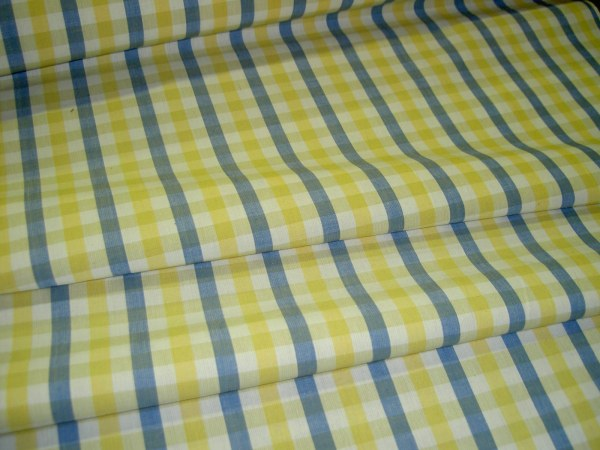 Blue and Yellow Plaid Upholstery Fabric