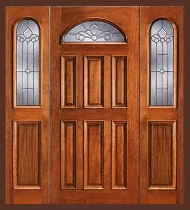Entry Prehung Eye Brow Single Wood Door With 2 Sidelights