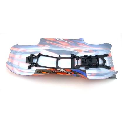 Traxxas Rustler 4X4 VXL Blue/Orange/Red Body Shell w/ clipless mounting