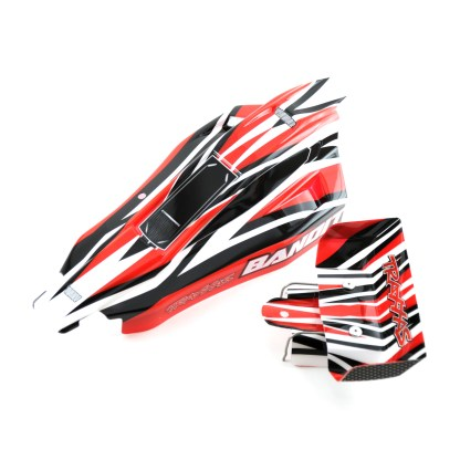 Traxxas Bandit XL-5 Red/Black Body Shell with Rear Wing & Wire Mount