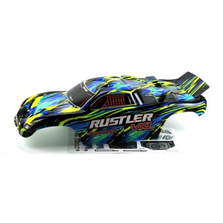 Traxxas Rustler 2WD VXL Body Shell (Yellow/Blue) Painted Decaled