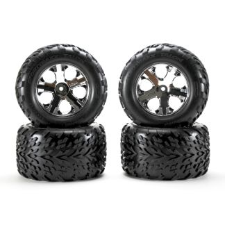 Traxxas Stampede 2WD XL-5 Factory Glued All-Star Black Chrome Wheels Talon Tires
