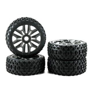 Arrma Typhon V3 4X4 3S BLX Gun Metal Wheels dBoots 2HO Tires Set ARA550088