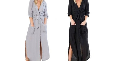 Maxi Split Wrap Dress