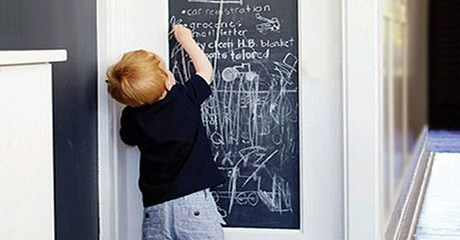 Chalkboard with Five Chalks