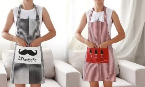 Linen Stripes Kitchen Apron