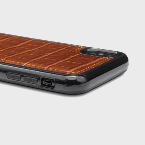 Gold Black iPhone X Case Croco Brown Price in Qatar