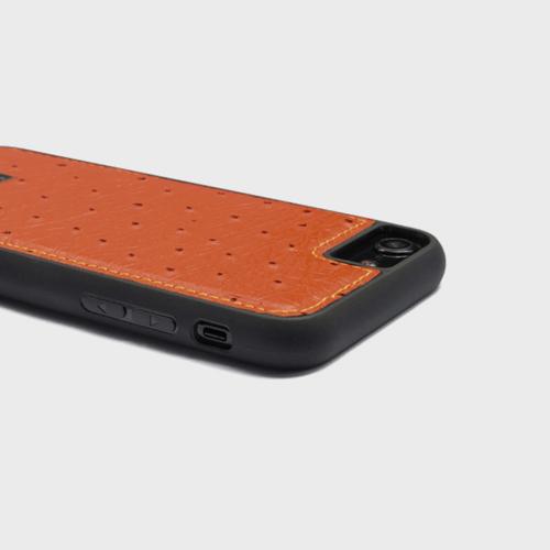 Gold Black iPhone 7 Leather Case Ostrich Orange Price in Qatar