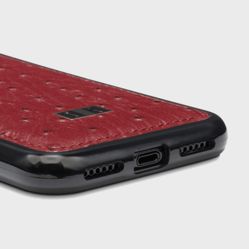 Gold Black iPhone X Leather Case Ostrich Red Price in Qatar