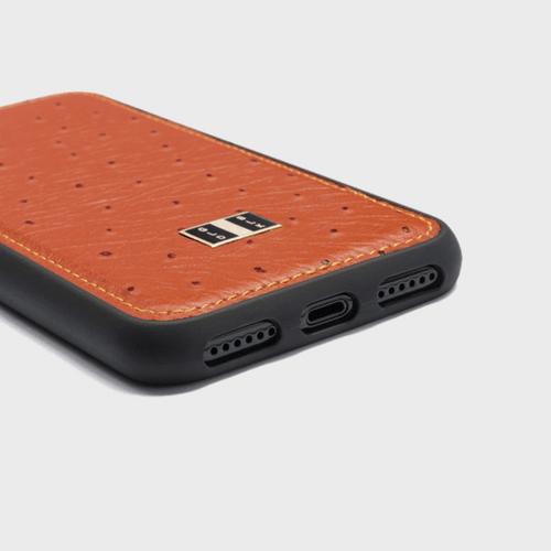 Gold Black iPhone 8 Leather Case Ostrich Orange in Qatar