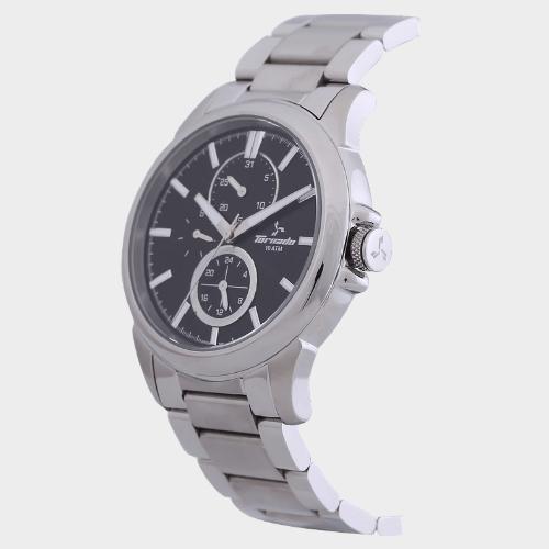 Tornado Men's Multi-Function Watch Black Dial Stainless Steel Band T6107-SBSB price in Qatar lulu