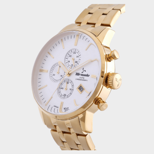 Tornado Men's Chronograph Watch White Dial Stainless Steel Gold Band- T6102-GBGW price in Qatar lulu