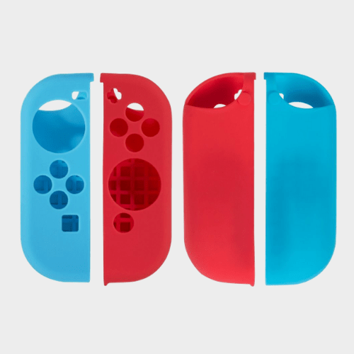 Mosiso Case for Nintendo Switch, Protective Silicone Cover Lightweight Anti-slip Joy-Con Guards with 8 Thumb Grip Caps for Nintendo Switch, Red and Blue