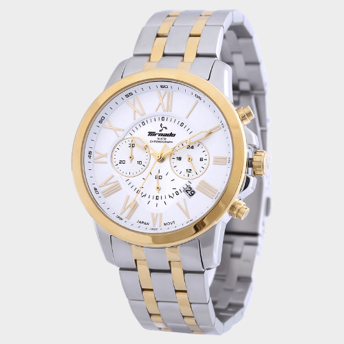 Tornado Men's Chronograph Watch White Dial Two Tone Band T6103-TBTW price in Qatar