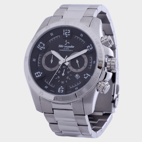 Tornado Men's Chronograph Watch Black Dial Stainless Steel Band T3149-SBSBS price in Qatar
