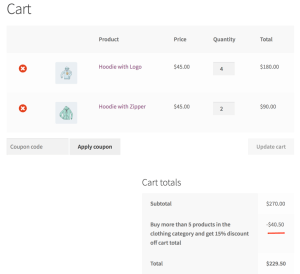 WooCommerce dynamic pricing - cart example 2