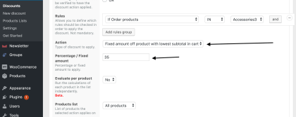 Discount setup at backend (Click arrow to view front end)