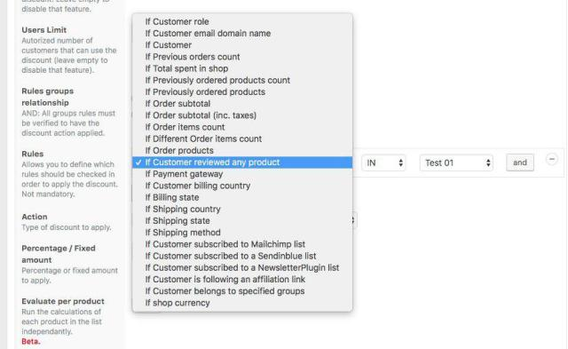 Discount Conditions View for how to create discounts for customers who reviewed your products