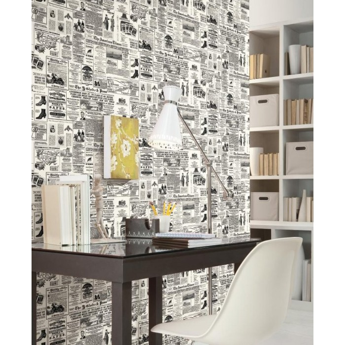 KW7620Vintage Newspaper Print WallpaperDiscount Wallcovering