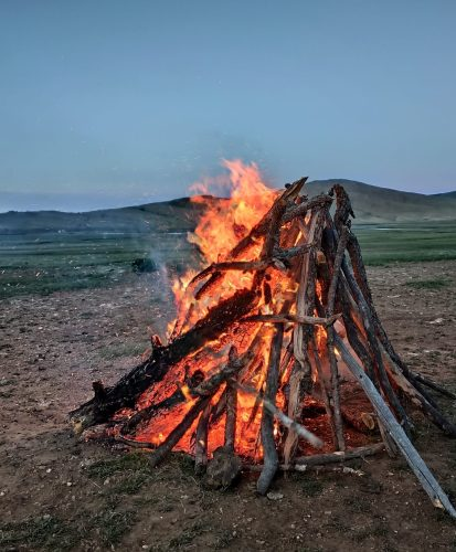 A campfire in Mongolia