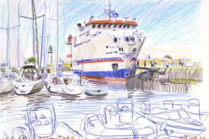 Beautiful sketch by V. Desplanche, Saint-Tudy ferry boat docked in Port-Tudy