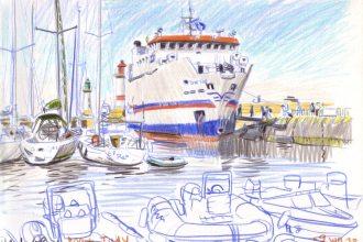 Beautiful sketch by V. Desplanche, Saint-Tudy ferry boat docked in Port-Tudy