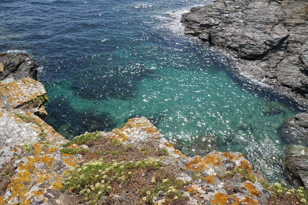 Blue water on the island of Groix, Brittany