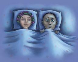 couple in bed, one sleeping, one awake