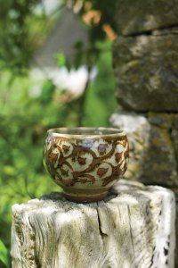 Wax Resist Chawan by Phil Rogers