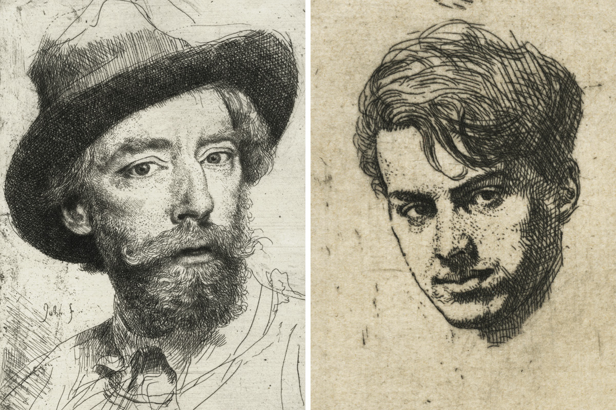 Augustus-John-Portrait-Of-The-Artist-and-Percy-Wyndham-Lewis-Etchings