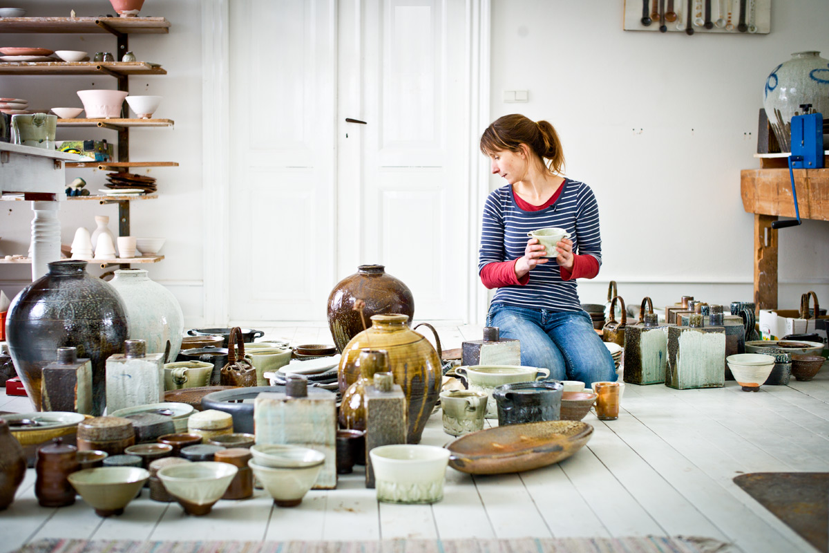 Studio-Tour-Anne-Mette-Hjortshoj-Pots-On-Floor