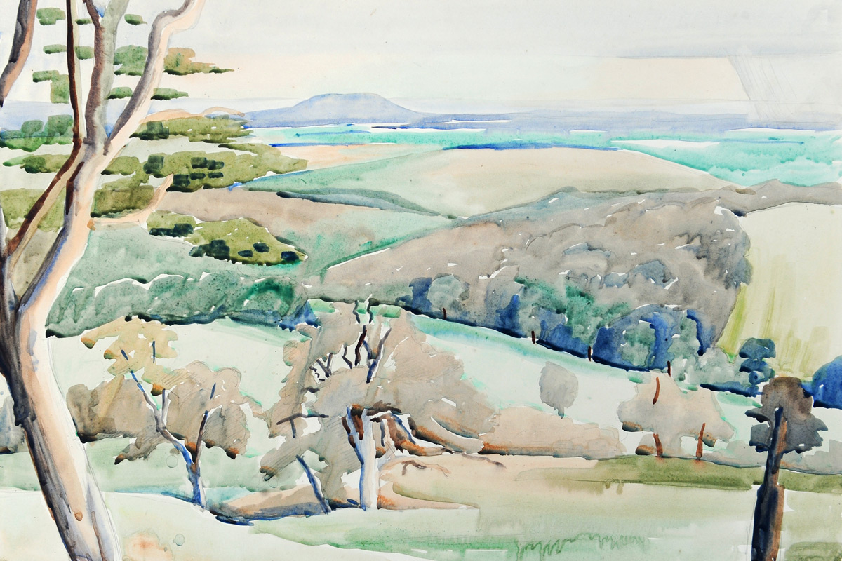 Claude-Flight-Edith-Lawrence-Watercolours-View-Across-The-Hills