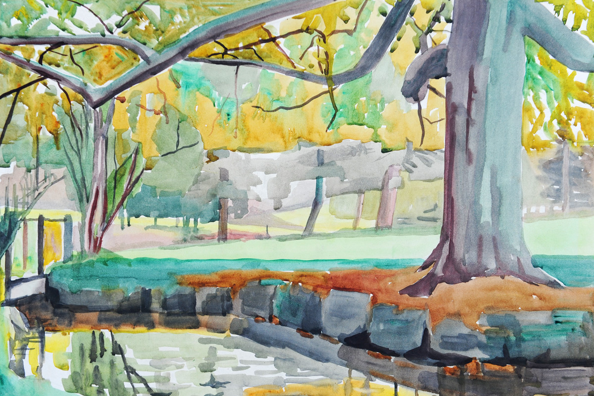 Claude-Flight-Edith-Lawrence-Watercolours-Woodland-River