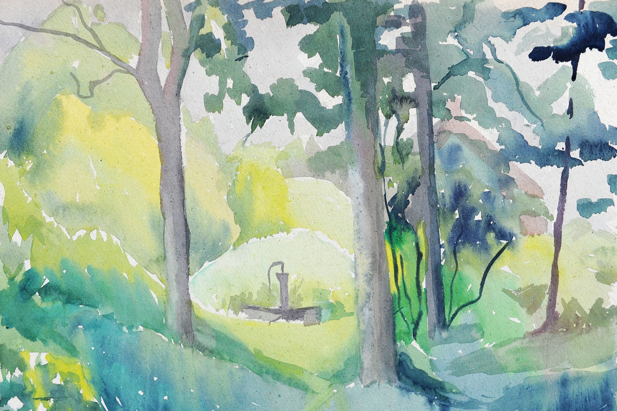 Claude-Flight-Edith-Lawrence-Watercolours-Woodland-Scene