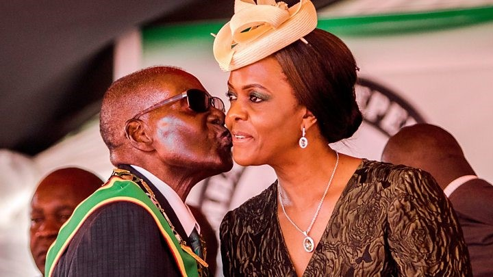 Mugabe and Wife, Grace. Mugabe faces impeachment test today. credit/BBC