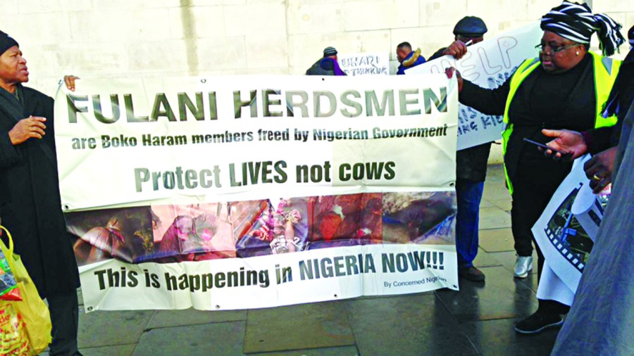 Nigerians protesting in London against the killings by Fulani herdsmen… yesterday. Credit/The Guardian