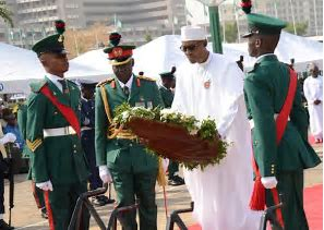 President Buhari lays wreaths to honour 'fallen heroes' on Armed Forces Day