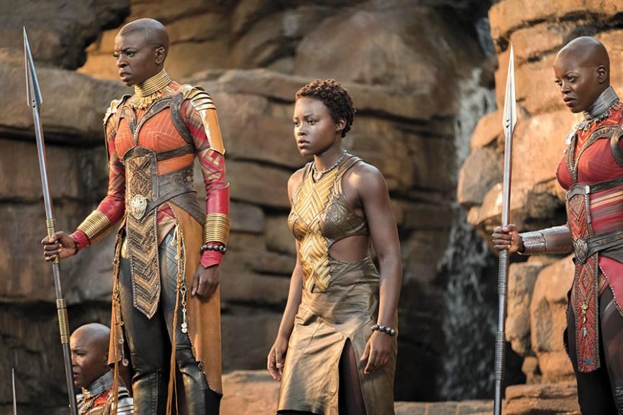 Marvel Studios' BLACK PANTHER..L to R: Okoye (Danai Gurira), Nakia (Lupita