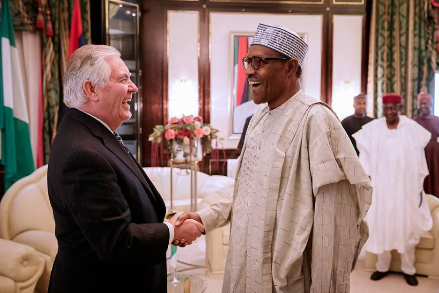 Rex Tillerson with Buhari in Abuja, Nigeria on March 12th, 2018, a day before he was sacked by Trump. Source:State House, Nigeria