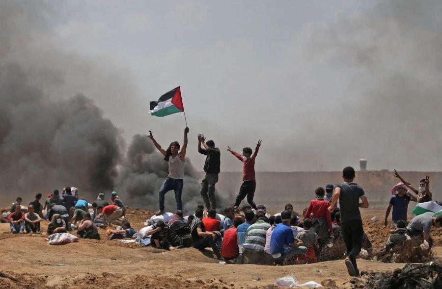 Palestinians protest at Gaza on Monday