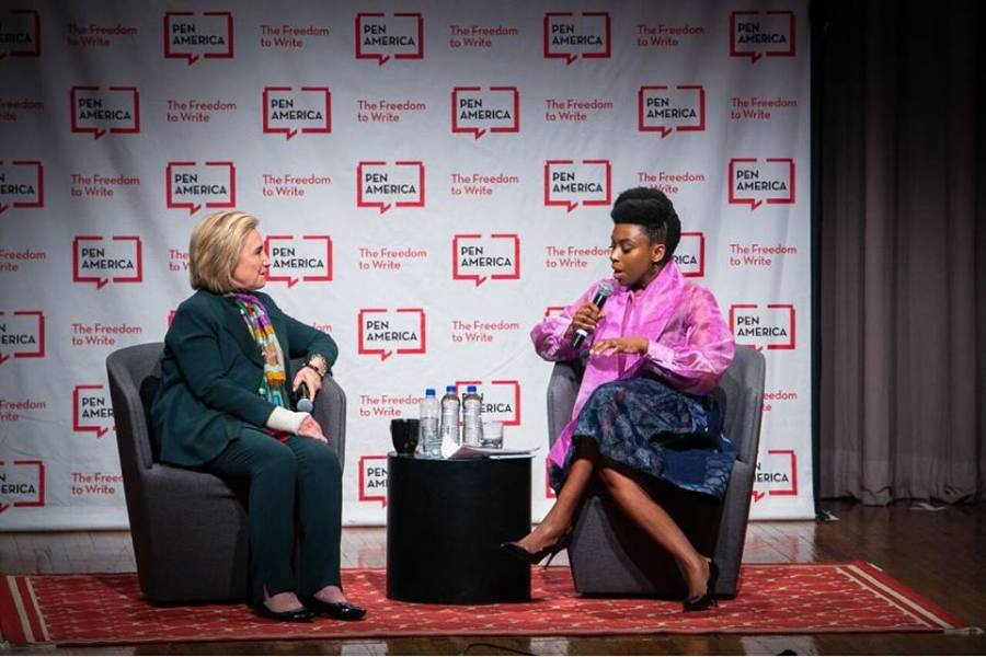 Hillary Clinton and Chimamanda at PEN event in New York. Source CNA