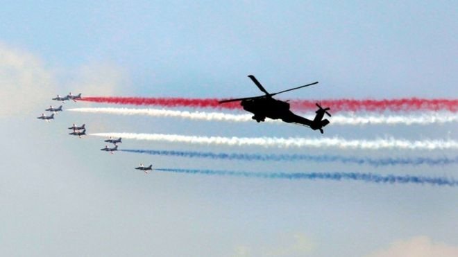 Fighter jets flew overhead and there was a 21-gun salute as Mr Sisi took his oath in parliament. Credit/BBC