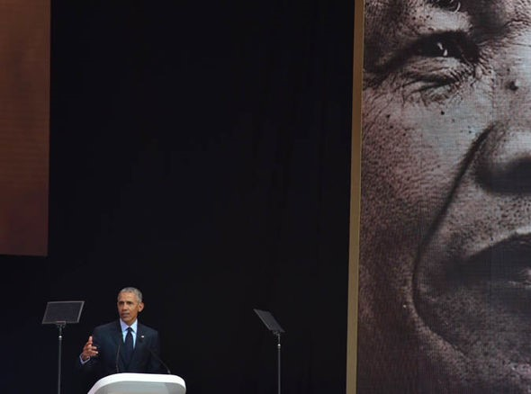 Barack Obama delivering 2018 Nelson Mandela Day lecture on July 18 in Johannesburg, South Africa