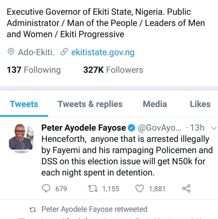 Fayose, who is projecting his Deputy, Prof. Kayode Olusola to take over from him tweeted
