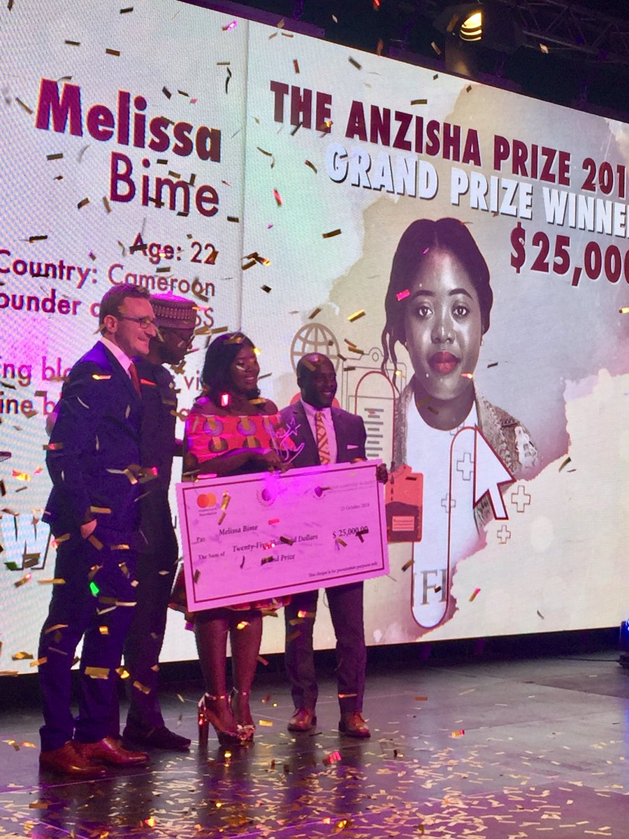 Melissa Bime has won the US$25,000 Grand Prize at the 8th annual Anzisha Prize awards gala